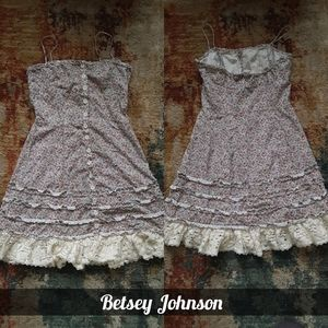 90s Betsey Johnson button down lace floral dress